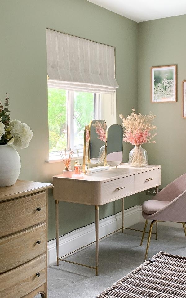 Makeup desk against window